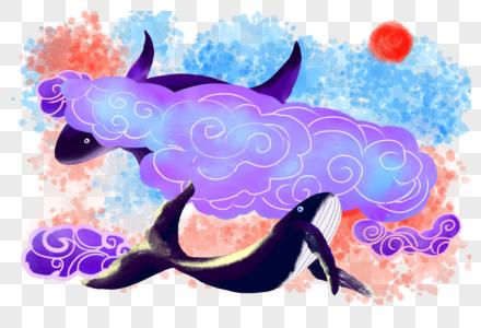 中国风水彩水墨海洋生物鲸鱼图片