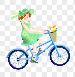 夏天骑单车的少女图片