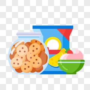 酸奶和膨化零食图片