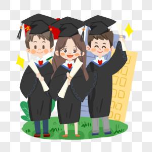 毕业季卡通学生穿学士服合影图片