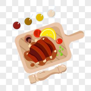 烤肋排和各种蘸酱图片
