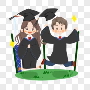 毕业季卡通学生穿学士服跳跃图片