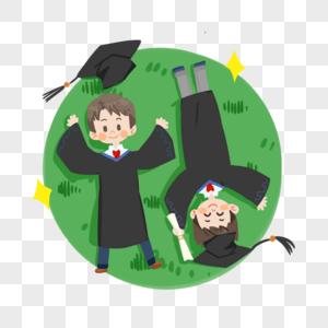 毕业季卡通学生穿学士服躺着草坪上图片