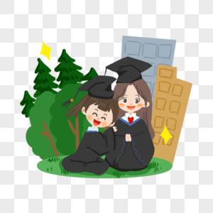 毕业季卡通学生穿学士服在草地上的合影图片