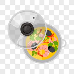 锅里的海鲜浓汤图片