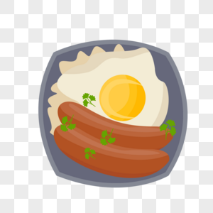早餐的鸡蛋和香肠图片
