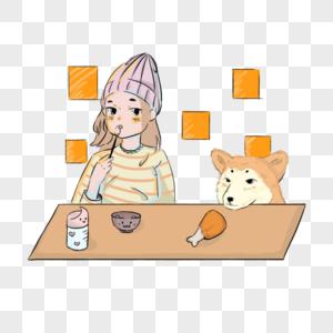 小女孩和狗狗一起吃饭图片