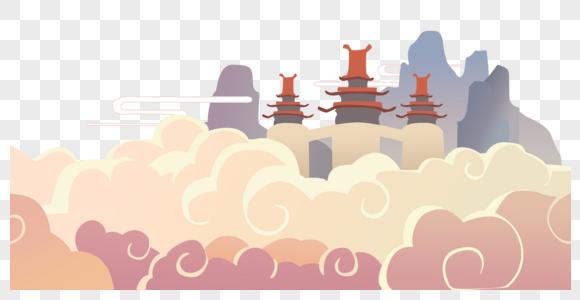 中国风扁平云彩宫殿建筑图片