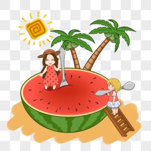 创意吃西瓜的女孩图片