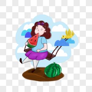 坐秋千吃西瓜的女孩图片