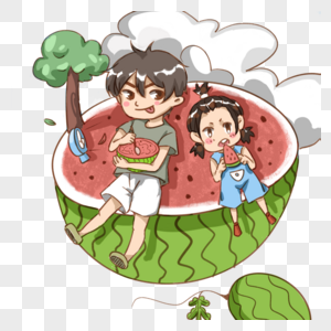 坐在西瓜上吃西瓜的孩子图片