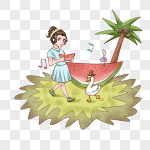 走路吃西瓜的女孩图片