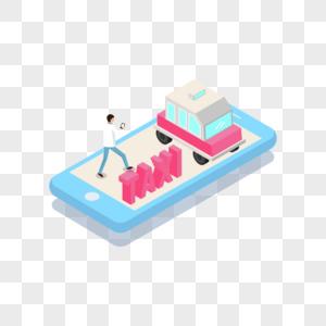 2.5d创意手机呼叫顺风车出租车场景图片