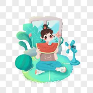 夏天吃西瓜的小女孩图片