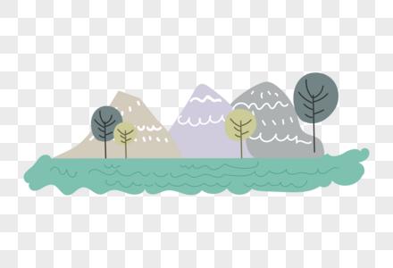 小清新清新山丘树图片