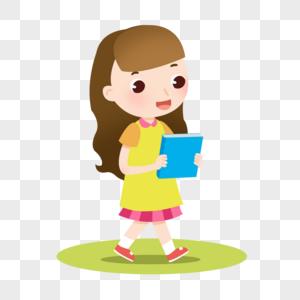 卡通黄色裙子女孩拿着书图片