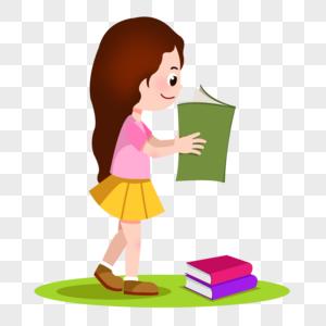 创意长发女孩拿着书看书图片