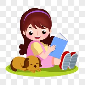 卡通女孩拿着书插图图片