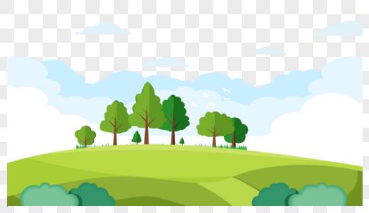 蓝天白云草地矢量图图片