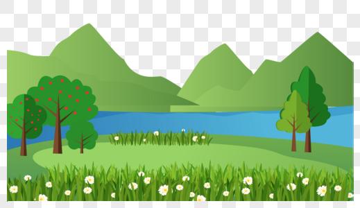 卡通山川河流草地矢量图图片