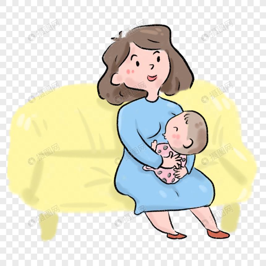 素材给孩子喂奶卡通漫画元素漫画psd格式_设龙瑟母亲图片