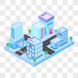 2.5D蓝色城市房子建筑公路汽车插画图片