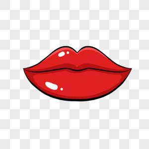 手绘红唇图片