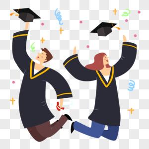 毕业穿着学士服欢呼的学生图片