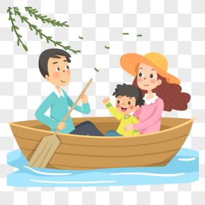 一家三口划船游玩图片