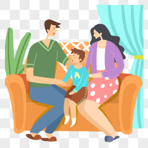 坐着的一家三口全家福图片