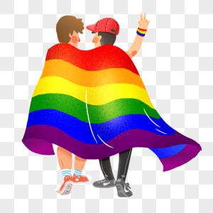 不再恐同日一对身披彩虹旗的男子图片