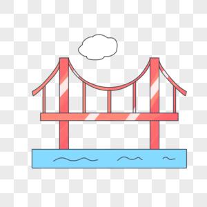 手绘卡通中国旅游日金门大桥图片