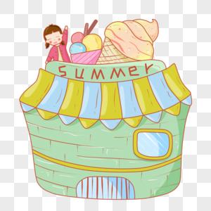 卡通手绘吃货夏季冰淇淋女孩PNG素材图片