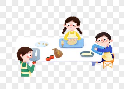 儿童节小孩子们一起在厨房做饭图片