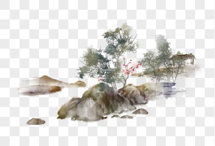 中国风写意水墨山石小景图片