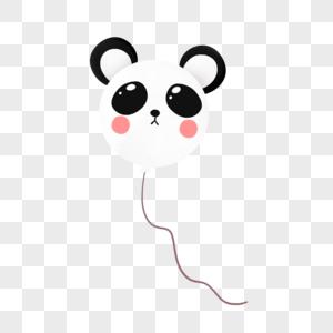 黑白可爱熊猫气球图片