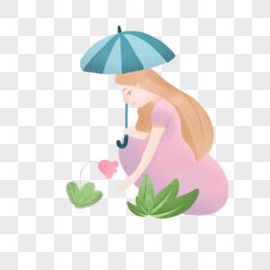 雨天打伞的女孩图片