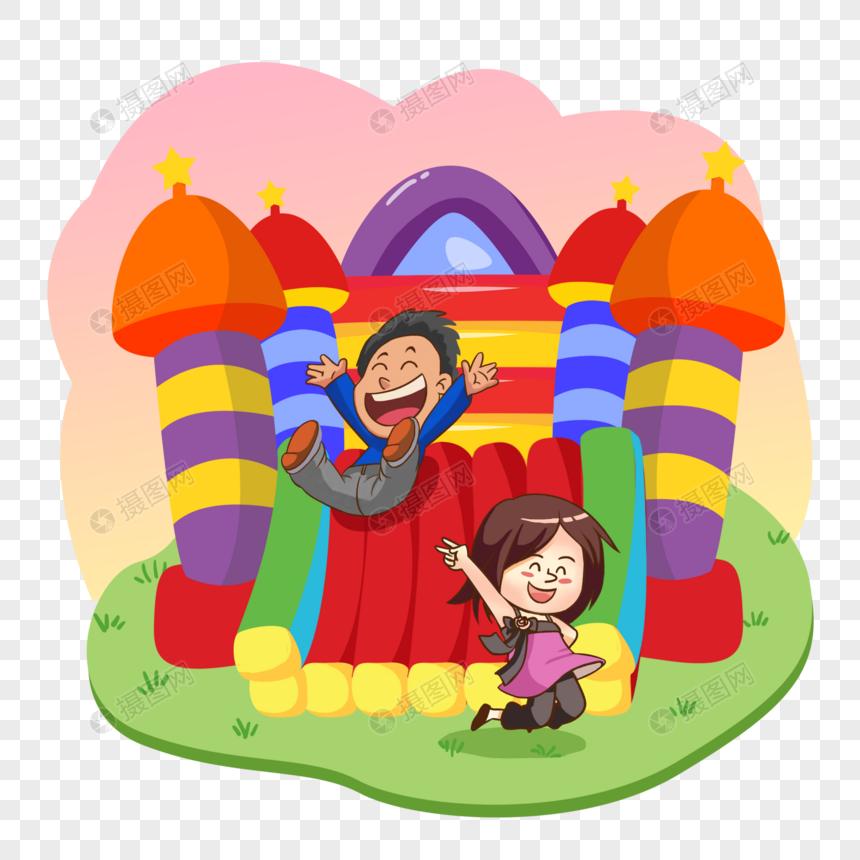 游乐园玩耍的孩子图片