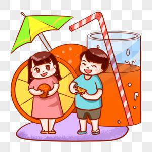 夏天吃水果的孩子图片
