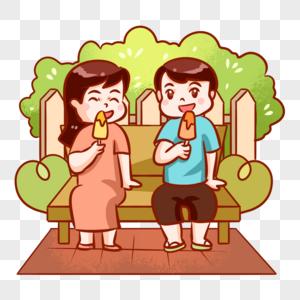 坐着吃雪糕的情侣图片