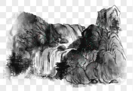 中国风写意山水瀑布图片