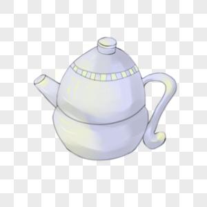 青色茶壶图片