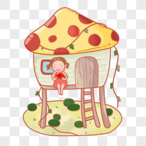 卡通手绘夏日蘑菇屋吃西瓜小女孩PNG素材图片