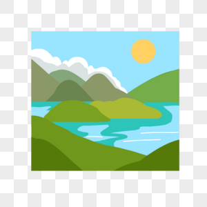 群山河流图片