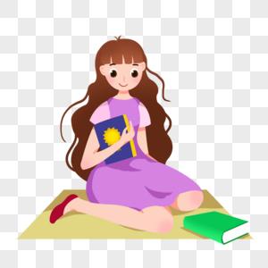 卡通棕色卷发女孩拿着书图片
