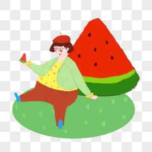 夏天吃西瓜的女孩图片
