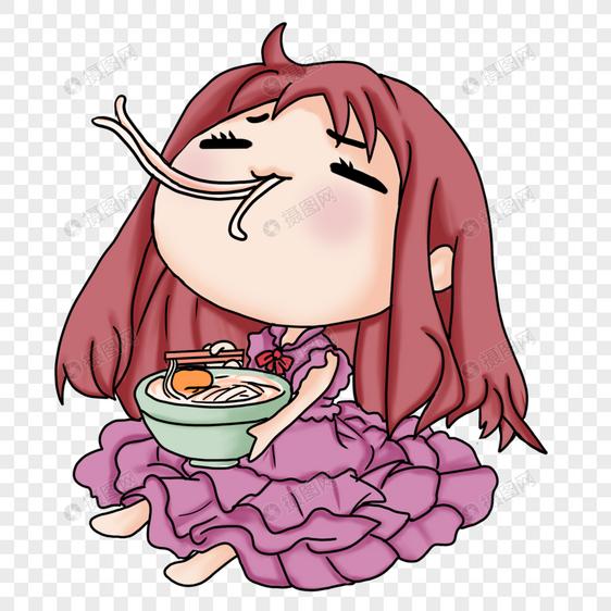 吃面条的女孩图片
