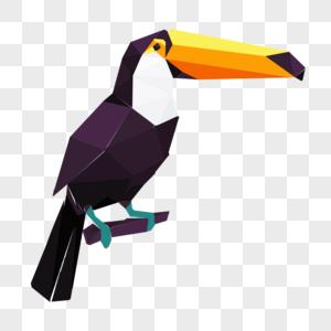 晶状大嘴鸟侧面卡通头像-图片
