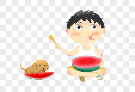 坐着吃西瓜的小孩和狗狗图片