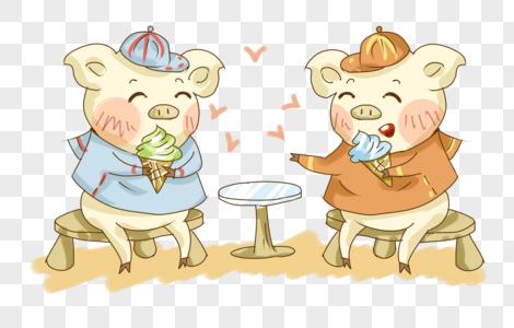 夏日猪猪吃冰淇淋聊天插画PNG图片